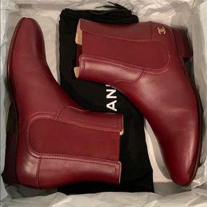 Chanel burgundy short calfskin boots
